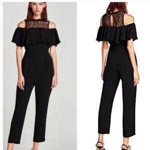 Zara black with lace jumpsuit